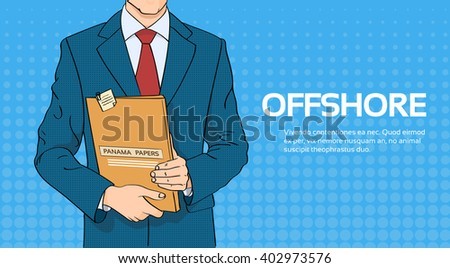 Business Man Hold Panama Papers Folder Pop Art Colorful Retro Style Vector Illustration - stock vector