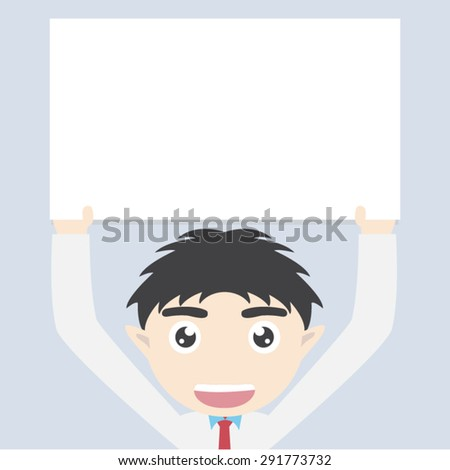 business man holding blank paper over head - stock vector