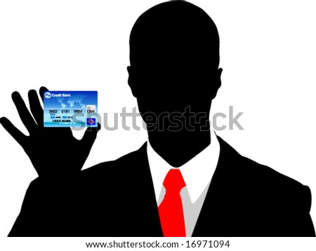 Business man holding credit card - stock vector