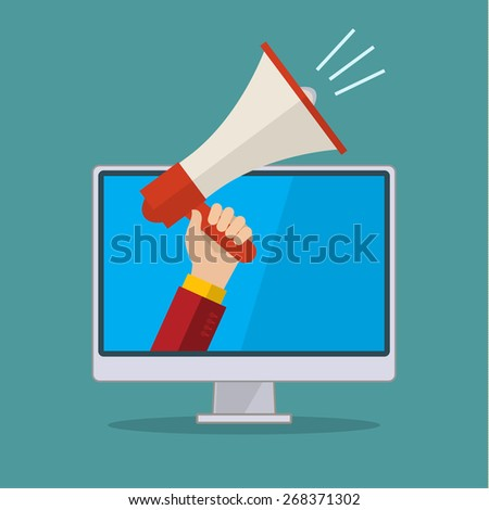 Business man holding in his hand megaphone. Flat design vector illustration business concept of digital marketing. - stock vector