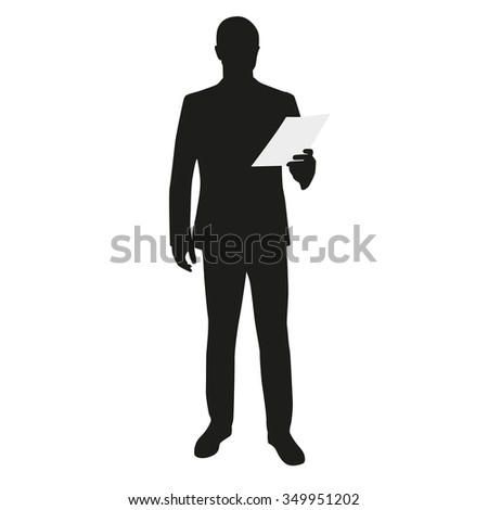 Business man holding paper. Speech, reading - stock vector