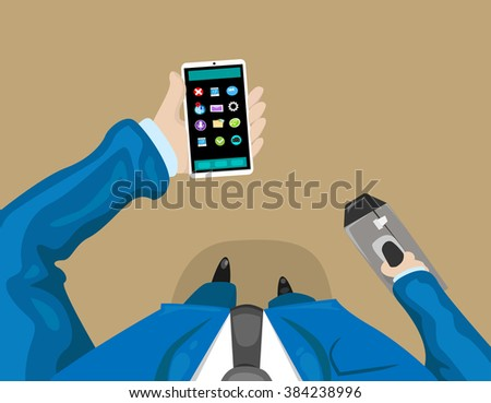 Business Man Holding Smart Cell Phone First Person Top Angle Body Point of View Vector Illustration - stock vector