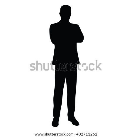 Business man in a business suit stands with his arms crossed, front view. Teacher, lawyer, civil servant, businessman, entrepreneur, boss, manager. Isolated vector silhouette. - stock vector