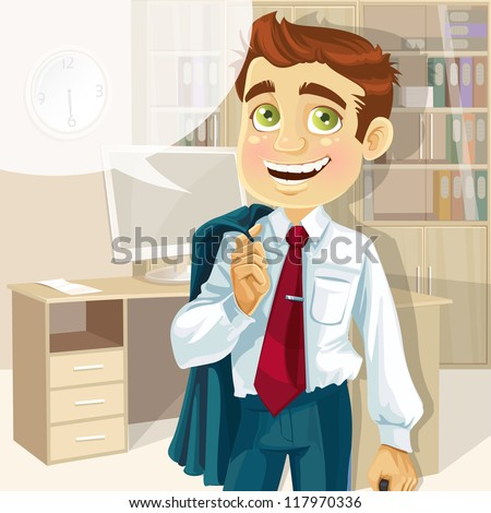 Business man in office with speech bubble gonna go home - stock vector