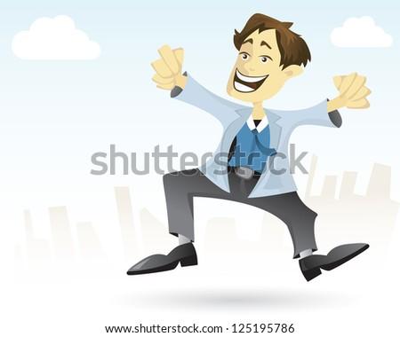 Business man is going to weekend break. - stock vector