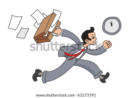 Business man is running with suitcase and papers - stock vector
