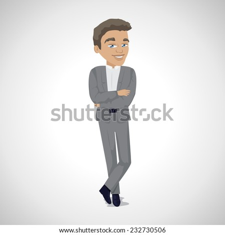 Business Man - Isolated On Gray Background - Vector Illustration, Graphic Design Editable For Your Design    - stock vector