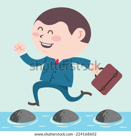 business man jumping on stepping stone - stock vector
