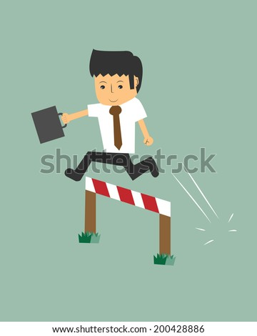 business man Jumping over hurdle - stock vector