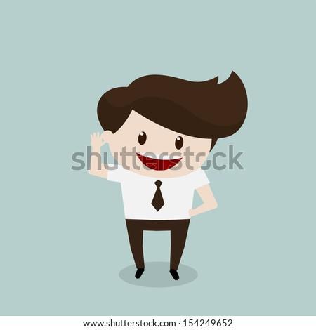 Business man - Listen - stock vector