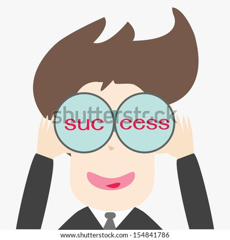 Business man looking success - stock vector
