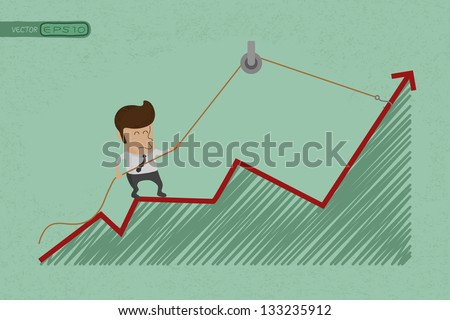 Business man make a economic rebound growth  , eps10 vector format - stock vector