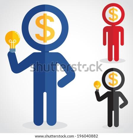 Business man Money head  - stock vector