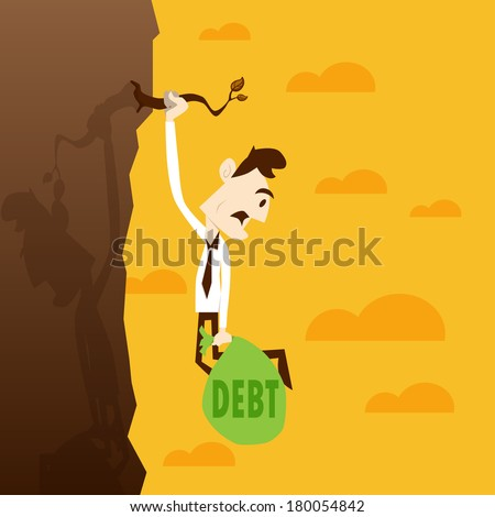 Business man nearly drop from mountain because carry debt bag - stock vector