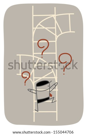 Business man need vision help as he confuse to choose future path - stock vector