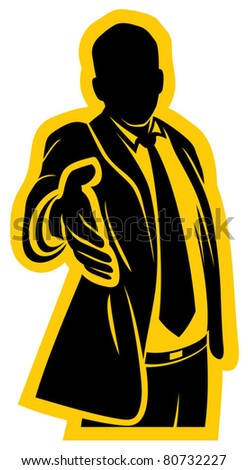 business man offering his hand for handshake - stock vector
