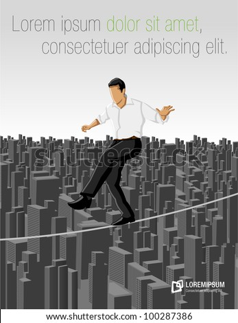 Business man over city on a high tightrope - stock vector