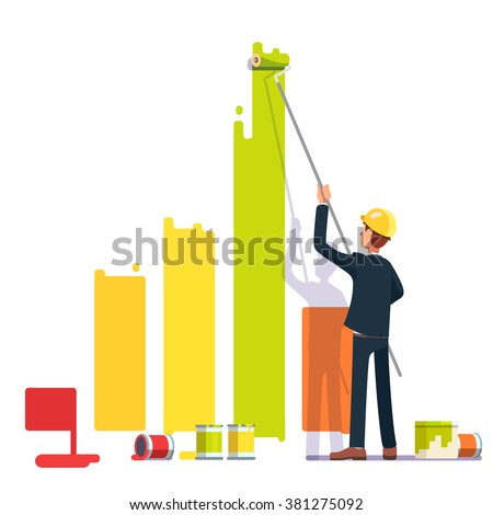 Business man painting bar graph with roller paint. Crisis management metaphor. Flat style modern vector illustration. - stock vector