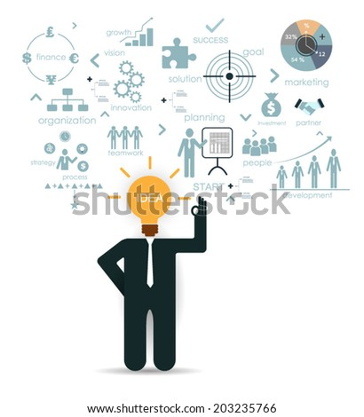 Business man planning business idea.Isolate on white background - stock vector