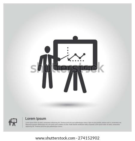 Business Man Presentation Icon, Flat pictogram Icon design gray background. Vector illustration. - stock vector