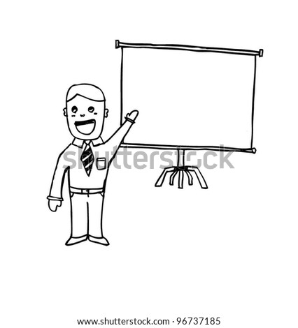 business man presentation - vector illustration - stock vector