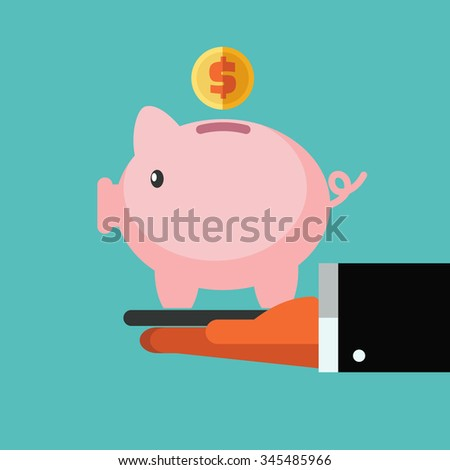 Business man presenting and showing a piggy bank. Saving and investing money concept. Future financial planning concept - stock vector