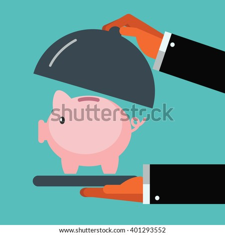 Business man presenting and showing a piggy bank. Saving and investing money concept. Future financial planning concept.  Modern vector design flat style - stock vector