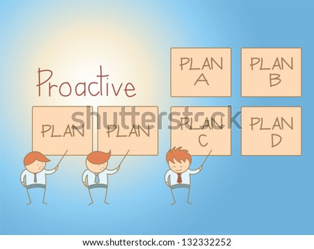 business man proactive solution plan cartoon character - stock vector