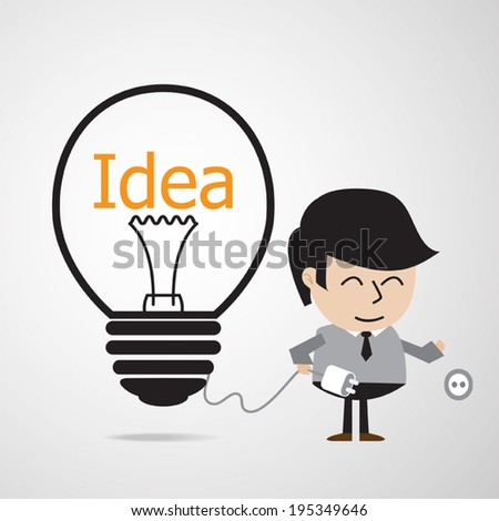 Business man recharge idea energy,  charging  idea concept. Vector EPS 10.  - stock vector