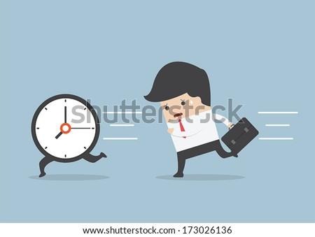 Business man run follow the clock, VECTOR, EPS10 - stock vector