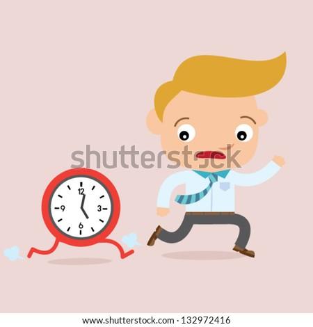 business man run overtime - stock vector