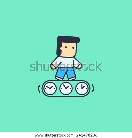 Business man running with the time. abstract conceptual illustration. - stock vector