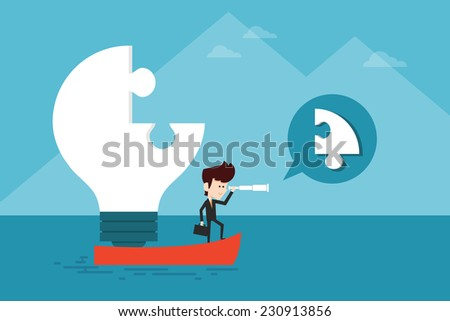 Business man searching idea - stock vector