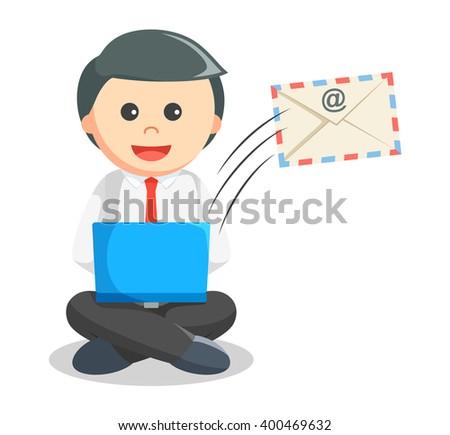 Business man sending mail - stock vector