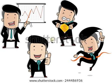 Business man set - stock vector