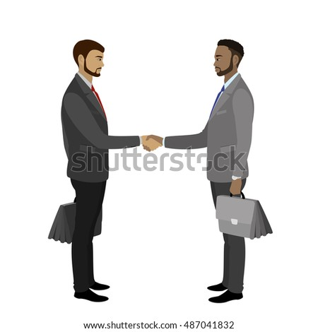 Business man shaking hands, isolated on white background ,vector illustration