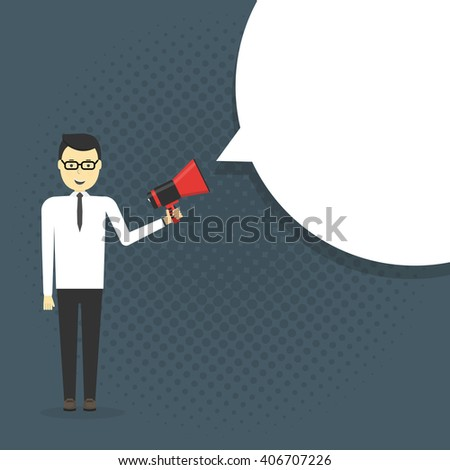 Business man shouting in a megaphone. Man announcing through loudspeaker advertising.Vector illustration in a flat design style - stock vector