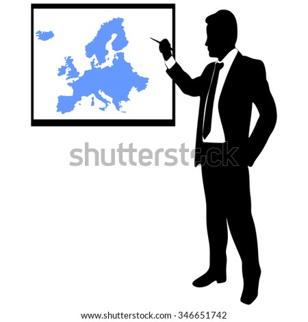 Business man showing earth-map - Europe  - stock vector