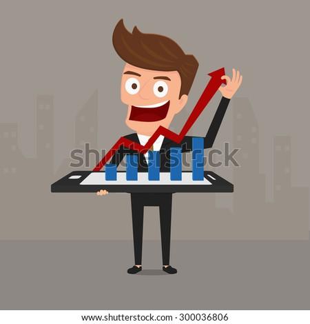 Business man shows increasing bar chart on smart phone. Cartoon Vector Illustration. - stock vector