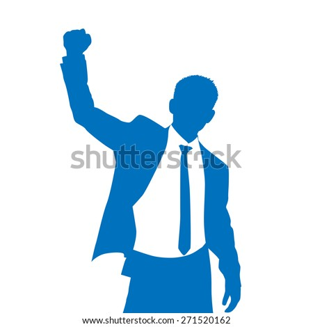 Business Man Silhouette Excited Hold Hands Up Raised Arms, Businessman Concept Winner Success Vector Illustration - stock vector