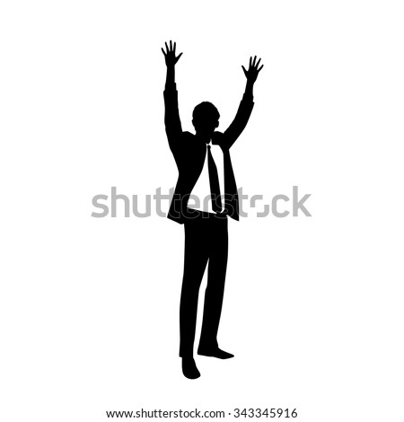 Business Man Silhouette Excited Hold Hands Up Raised Arms, Businessman Full Length Concept Winner Success Vector Illustration - stock vector