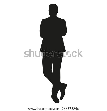 Business man silhouette. Standing man in suit - stock vector