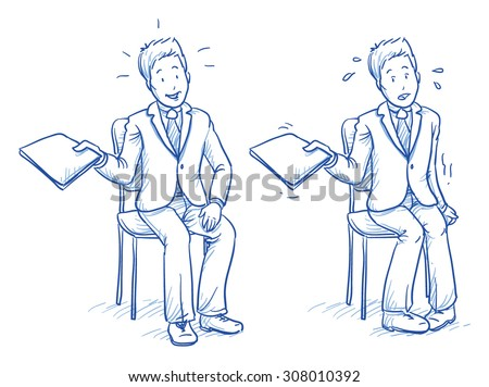 Business man sitting on chair with e.g. application document in his hand in two emotions, confident and nervous, hand drawn doodle vector illustration - stock vector