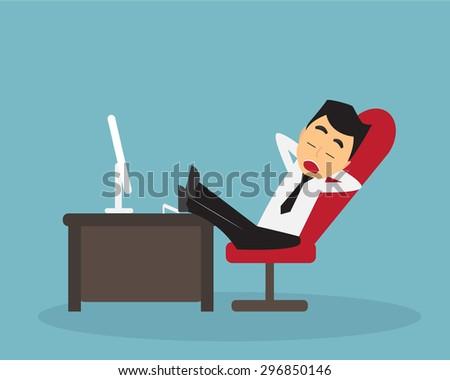 Business man sleep on work time. - stock vector