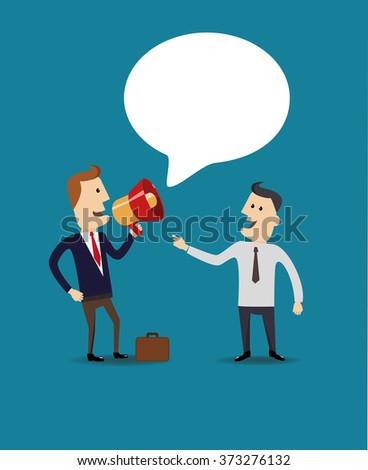 Business man speak in a megaphone. Flat vector illustration. - stock vector