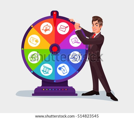 Business Man Spinning Wheel Fortune Stock Vector 514823545