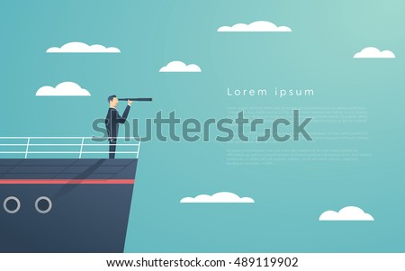 Business man standing on a ship as symbol of leadership, professionalism and strong, powerful manager. Eps10 vector illustration.