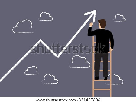 Business man standing on ladder drawing growth chart. Business concept - stock vector