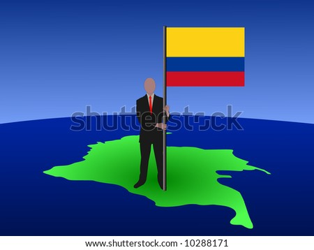 business man standing on map of Colombia with flag