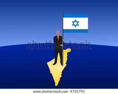 business man standing on map of Israel with flag